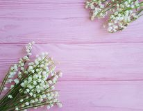 Lilies of the valley on pink wooden spring flowers. Rustic royalty free stock image