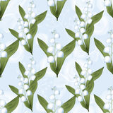 Lilies of the valley seamless pattern background. Lilies of the valley seamless pattern on blue background Royalty Free Stock Photo