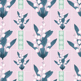 Lilies of the valley seamless pattern pastel pink background. Lilies of the valley seamless pattern on pastel pink background Royalty Free Stock Photos