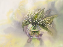 Lilies of the valley watercolor. Lilies of the valley. Watercolor hand drawn illustration Stock Photo