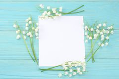 Lilies of the valley with white paper on a blue wooden background. top view with copy space stock image