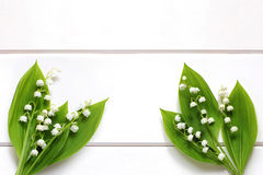Lilies of the valley on a white wooden boards Royalty Free Stock Photo