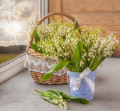 Lilies of the valley   on the window Stock Photography