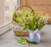 Lilies of the valley   on the window Royalty Free Stock Photography