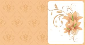 Lilies With Ornament. Decorative Card Stock Image