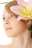 Lilies and woman Royalty Free Stock Photos