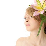 Lilies and woman Stock Image