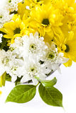 Lilium and carnation floral bouquet. Bunch of freshly cut white carnation flowers, yellow liliums and yellow carnations arranged in a simple floral bouquet with Royalty Free Stock Photos