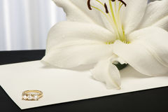 A  Lilium and wedding rings Stock Photo