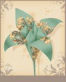 Lilja - dekorativt papper för tappning. Royaltyfri Bild