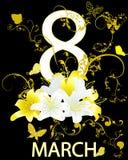 8 lilja 2 för mars och vit- och guling Arkivbilder