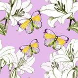 Lilja och fjäril Arkivfoto