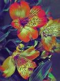 Liljan blommar på en grunge och en mörk purpurfärgad bakgrund stock illustrationer