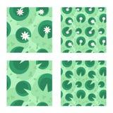 Liljan i ett seamless grönt träsk mönstrar Arkivbild