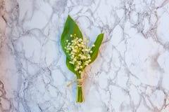 Liljekonvalj eller kunna-lilja på marmorbakgrund royaltyfria bilder