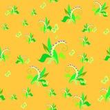 Liljekonvalj på en guling seamless vektor för illustration Arkivfoto