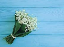 Liljekonvaljen som är lantlig på den dekorativa blom- våren för blå trälantlig beröm, blommar hälsningar Fotografering för Bildbyråer