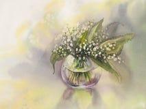Liljekonvaljvattenfärg Arkivfoto