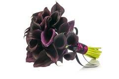 Liljor för svart Calla som gifta sig buketten Arkivfoto
