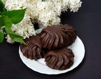 Lillà bianco con cioccolato Fotografia Stock Libera da Diritti