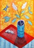 Lillà e farfalla bianchi dello stile di van Gogh Immagine Stock