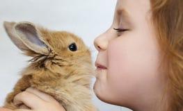 Lilla flickan behandla som ett barn kysskanin royaltyfria foton