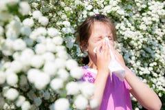 Lilla flickan blåser hennes näsa Royaltyfri Fotografi