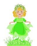 Lilla flickan firar ankomsten av våren Royaltyfria Foton