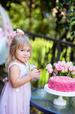 Lilla flickan firar partiet för den lyckliga födelsedagen med den utomhus- rosen Arkivfoto