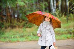 Lilla flickan går under ett paraply i parkerar royaltyfri foto
