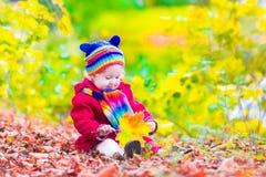 Lilla flickan i en höst parkerar Royaltyfria Foton