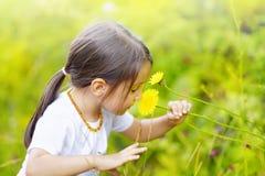 Lilla flickan i skogen luktar underbara blommor och tycker om Arkivbild