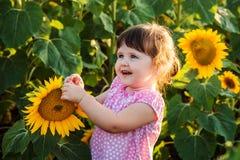 Lilla flickan i solrosorna Arkivbild