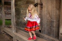 Lilla flickan i ukrainsk nationell dräkt går för en gå Royaltyfri Fotografi