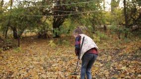 Lilla flickan kopplas in, i att göra ren lövverket som har stupat från träden Att kratta för flicka lämnar gult lager videofilmer