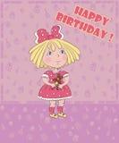 Lilla flickan med björnen firar födelsedagen, vykort arkivbilder