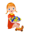 Lilla flickan med en bukett blommar Royaltyfri Bild