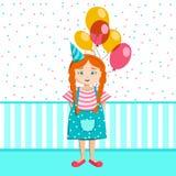 Lilla flickan med en grupp av ballonger firar födelsedag stock illustrationer