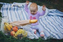 Lilla flickan med picknickkorgen i sommar parkerar Arkivbild