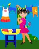 Lilla flickan och behandla som ett barn kläder Fotografering för Bildbyråer