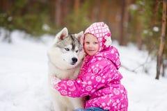Lilla flickan och den hasky hunden i vinter parkerar tillsammans arkivbild