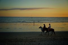 lilla flickan rider en häst Slut upp Arkivbilder