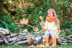 Lilla flickan som spelar med sidor i höst, parkerar utomhus Royaltyfri Foto