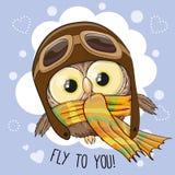 Lilla Owl Pilot royaltyfri illustrationer