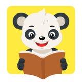 Lilla Panda Bear Reading en brun bok Stock Illustrationer