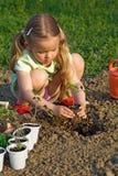 lilla plantera plantor för flicka Arkivfoton