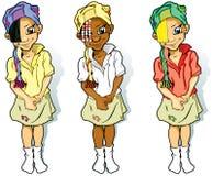 lilla scarves tre för flickor royaltyfri illustrationer