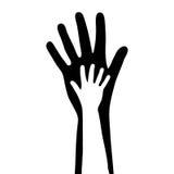 lilla stora händer stock illustrationer