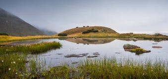 Lilla Tarn med vaggar i dimmiga berg Arkivfoton