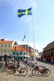 Lilla Torg-vierkant in Malmo stad, Zweden Royalty-vrije Stock Foto's